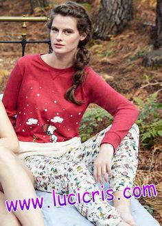 Pijama SNOOPY Mujer GISELA Burdeos