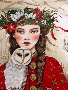 Maëlla y el búho arte ORIGINAL por claudiatremblay en Etsy