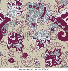 Paisley seamless pattern. Doodle hand drawn background, Indian motif ornament, vector. Line art ethnic flowers design. Asian motifs for fashion, cover, textile, wrapping, background. Boho style