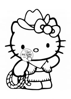 Hello Kitty Is Cowboy Coloring Page For Kids Girls Pages Printables Free