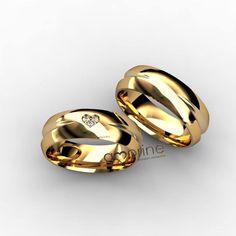 Alianças lindas da Amorine Jóias! <3 Fornecedor selecionado Casar é um Barato! Gold Bangles Design, Gold Jewellery Design, Couple Ring Design, Engagement Rings Couple, Gents Ring, Gold Rings Jewelry, Gold Band Ring, Matching Rings, Love Ring