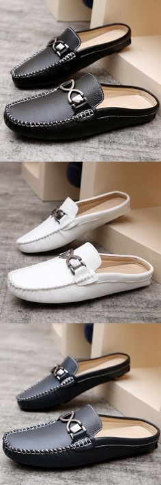 Urban Men Driving Shoes Luxury Brand Shoes Summer Men Shoes Backless Horsebit Loafers Open Backs Shoes Without Back