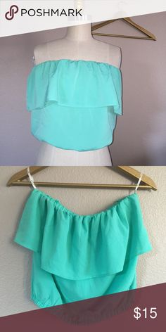 NWOT Ruffle summer top So cute ruffle summer top. Perfect with jeans, maxi skirt, you decide your style  elastic waist and top. ✅ will bundle ✅ ✅ all reasonable offers will be considered  No Trading  Poshmark rules only‼️ Measurements taken laying flat                            Ⓜchest 14 stretch up to 20 Ⓜ️ waist 14-22 Ⓜ️Length 13 Forever 21 Tops Crop Tops