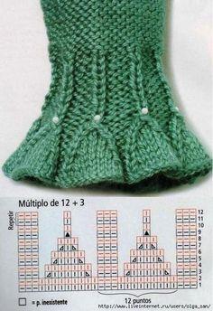 Diagrammi di rifininiture per polsini a maglia. Il blog e' in francese. French blog with diagrams for wrist edges. J56vViBQA2Y.jpg (479×699)