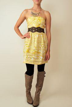 mustard tribal strapless dress - add a cardigan & this dress is prefect