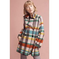 Siyu Tartan Wool Coat ($398) ❤ liked on Polyvore featuring outerwear, coats, assorted, wool coat, multi colored coat, colorful coat, woolen coat and plaid coat