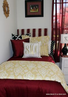 FSU Bed in a Bag Set 2014 Dorm Decor Dorm Bedding. Designer headboard, custom pillows, exclusive bed scarf, window panels, wall art, bed skirts, twin/queen/king duvet and custom monogramming!! Perfect for college, apartment, or teen bedding!!