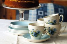 Vintage cornflower tea set. Gorgeous blue and white set. Perfect for afternoon tea. From thebrocante.co.uk