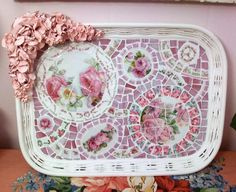 Simply Shabby Fabulous Large Rose Mosaic Tray by Grindstone Mountain Mosaics $300.00