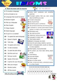 Idioms worksheet - Free ESL printable worksheets made by teachers