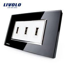Livolo  US Standard USB Socket(1A,5V), White/Black Crystal Glass, Wall Powerpoints With Plug, VL-C393USB-81/82  http://ali.pub/1943u