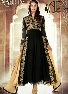 Make the heads flip the moment you dress up in such a attractive Black Georgette Unstitched Salwar Kameez. The lovely Resham & Stones work a substantial attribute of this attire.