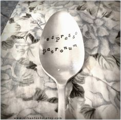 Espresso Patronum COFFEE SPOON Stamped Spoon Personalized Spoon Vintage Silver Flatware