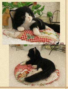 Needle felted Tuxedo cat by LeoRai ya from Japan