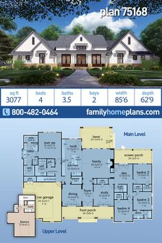 Modern Farmhouse Plan is 3077 Sq Ft, 4 Bedrooms, Bathrooms and a 2 Car Garage - This new modern style farmhouse offers 4 bedrooms, in a split bedroom configuration. French doors o - Family House Plans, New House Plans, Dream House Plans, Dream Houses, Four Bedroom House Plans, 4 Bedroom House, House Rooms, Modern Farmhouse Plans, Country Farmhouse