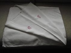Vintage French pure linen sheet with hand by WhiteLinenplus, €40.00