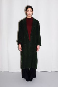 DARK GREEN WOOL MAXI COAT via collection Nº2. Click on the image to see more!