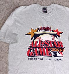 vtg Pro-Player 2000 MLB ALL-STAR GAME TURNER FIELD ATLANTA T-SHIRT Light- Gray  ProPlayer  AtlantaBraves 2b1c28282