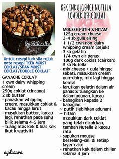 kek indulgence nutella Malay Cake, Chocolate Recipes, Chocolate Cake, Resep Cake, Malay Food, Lemon Cheesecake, Best Breakfast Recipes, Brownie Cake, Bakeries