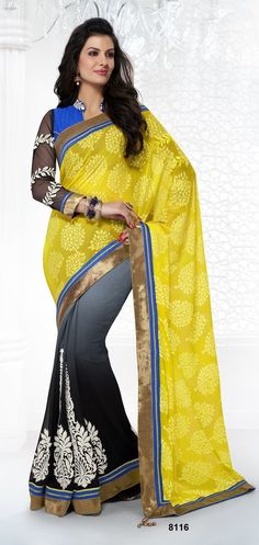Khazanakart Heavy Worked Saree, Faux Georgette Braso and Faux Georgette Saree