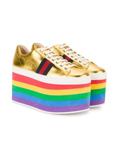 Shop Gucci Metallic platform sneaker from our collection. Rainbow Sneakers, Rainbow Shoes, Metallic Gold Shoes, Metallic Sneakers, Harry Potter Shoes, Flatform Trainers, Combat Boots Style, Kawaii Shoes, Brown Sneakers