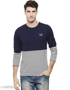 Tshirts Men's Trendy Cotton Solid T-Shirt  *Fabric* Cotton  *Sleeves* Full Sleeves Are Included  *Size* S, M, L, XL,XXL (Refer Size Chart)  *Length* Refer Size Chart  *Fit* Regular Fit  *Type* Stitched  *Description* It Has 1 Piece of Men's T-Shirt  *Pattern * Striped  *Sizes Available* XXS, XS, S, M, L, XL, XXL, XXXL, 4XL, 5XL, 6XL, 7XL, 8XL, 9XL, 10XL, Free Size *    Catalog Name: Rigo Men's Stylish Cotton Solid T-Shirts Vol 3 CatalogID_123827 C70-SC1205 Code: 862-1025099-