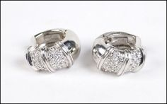 A PAIR OF ROBERTO COIN DIAMOND AND 18 KARAT WHITE GOLD 'NABUCCO' EARRINGS. Lot 150-7321 #jewelry
