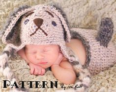 Puppy Dog Hat and Diaper Cover set  PDF Crochet Pattern