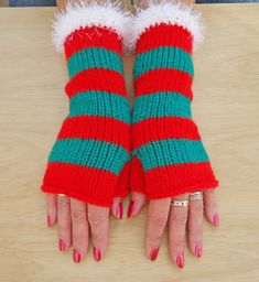 Women Fingerless Mittens Stripe Mittens Christmas by evefashion, £15.00
