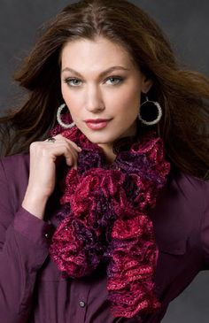 Red Heart® Sashay Saucy Swirls Scarf #knit #pattern