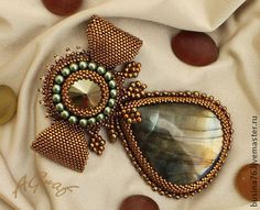 Брошь бант Леди (лабрадорит, сваровски) - золотой,бронза,бронзовый цвет