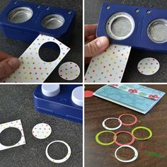 Circle punch tricks, this works with any geometric shape that you have in graduated sizes.  Perfect for Creative Memories shape makers. IN LOVE with this right now!!