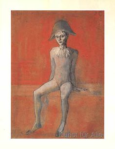 """Exhibition: 'The young Picasso - Blue and Rose Periods' at Fondation Beyeler, Riehen, Switzerland. """"I love the paintings disrupted humanism."""" Art work: Pablo Picasso (Spanish, 'Arlequin assis sur fond rouge' (Seated Harlequin on Red Background) 1905 Pablo Picasso, Kunst Picasso, Art Picasso, Picasso Blue, Picasso Paintings, Henri Rousseau, Henri Matisse, Francisco Goya, Georges Braque"""