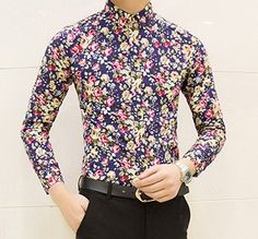 Colorful spring and summer fashion brand mens clothes printed shirt
