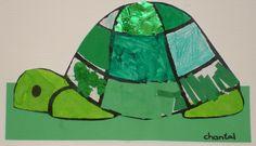 Schildpad: Een werkje waarbij diverse technieken aan bod komen: verven met verf/ecoline, propjes maken, scheuren, kleuren, tekenen met wasco/kleurpotloden, knippen in papier/vilt, passen en meten.