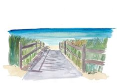 """Saatchi Art is pleased to offer the painting, """"Path To The Blue and Turquoise Sea,"""" by M Bleichner, available for purchase at $249 USD. Original Painting: Watercolor on Paper. Size is 7.9 H x 11.8 W x 0.4 in. Beach Watercolor, Watercolor Landscape, Watercolor Paintings, Original Paintings For Sale, Original Artwork, Impressionism Art, Cool Artwork, Buy Art, Paths"""