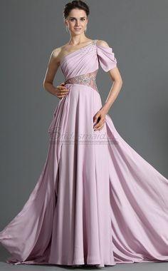 #bridesmaiddresses Lavender Long Chiffon One Shoulder Bridesmaid Dress BD-CA475