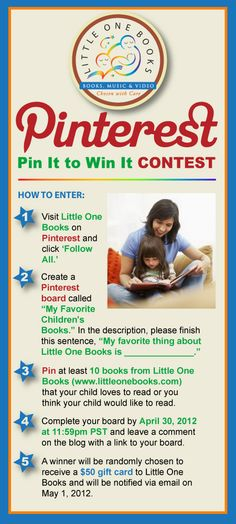 Little One Books' Pin It to Win It Contest - Enter to win a 50-dollar gift card for children's books