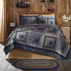 Navy Blue Rustic & Lodge Bedding Carson Blue Plaid Cotton Pre-Washed Patchwork Luxury King Quilt Image 1 of 4 Twin Quilt, Quilt Bedding, Bedding Sets, Aztec Bedding, Rustic Quilts, Rustic Bedding, Modern Bedding, Country Bedding, Log Cabin Quilts