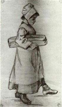 Girl Carrying a Loaf of Bread - Vincent van Gogh