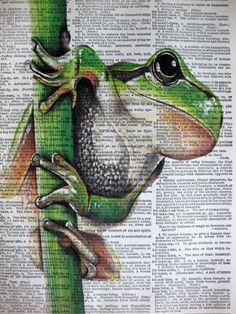 Green Tree Frog ORIGINAL ARTWORK Mixed Media art by sherryannshop