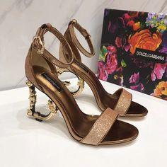 dolce & gabbana metallic glitter sandals with letter heels