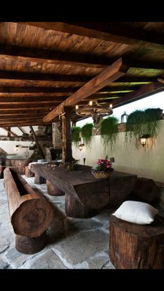 Home rustic exterior outdoor spaces 65 ideas for 2019 Outdoor Rooms, Outdoor Dining, Outdoor Decor, Outdoor Seating, Dining Area, Outdoor Tables, Picnic Tables, Patio Dining, Dining Rooms