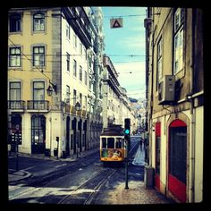 Photo by abrancoalmeida @ Rua da Conceição #Lisbon #Tram #Portugal