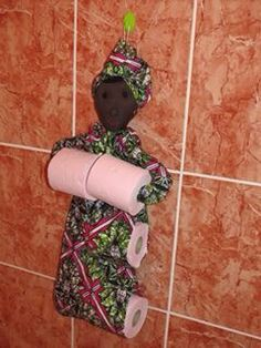 Ankara doll poupée africaine porte papier toilette waxindeco #wax #pagne