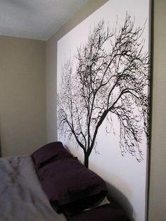 DIY Headboard (shower curtain + wooden frame) http://bit.ly/HKUuFy