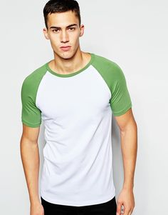 Image 1 ofASOS Muscle Fit T-Shirt With Contrast Raglan Sleeves