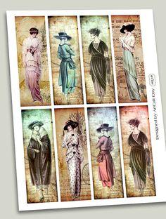 DOLLED UP Bookmarks Printable download Digital Collage by ArtCult