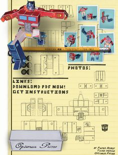Optimus Prime paper craft that can also TRANSFORM! What?!?! (There are some other cool paper crafts, too.)