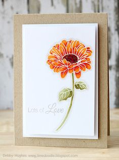 handmade card for case study challenge 131 from Lime Doodle Design ... clean and simply beautiful ... white embossed flower on vellum ... colored in oranges and olives with Copics ...